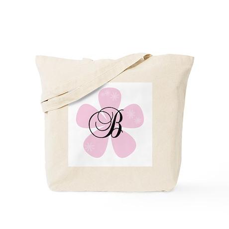 Pink Flower Monogram B Tote Bag