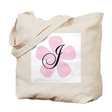 Pink Flower Monogram J Tote Bag