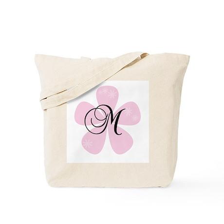 Pink Flower Monogram M Tote Bag