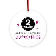 2nd Anniversary Butterflies Ornament (Round)