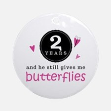 2nd Anniversary Butterflies Ornament (Round)