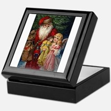 Santa and Christmas Angel Keepsake Box