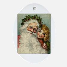 Classic Victorian Christmas Santa Oval Ornament