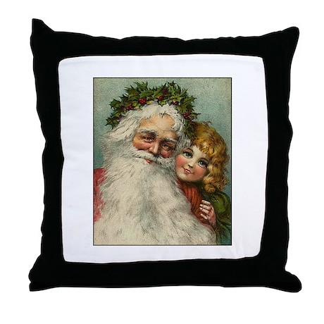 Classic Victorian Christmas Santa Throw Pillow by screamscreens