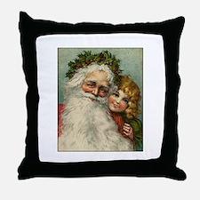 Classic Victorian Christmas Santa Throw Pillow