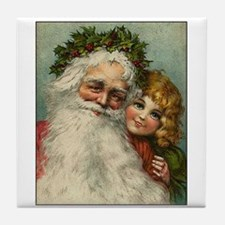 Classic Victorian Christmas Santa Tile Coaster