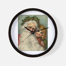 Classic Victorian Christmas Santa Wall Clock
