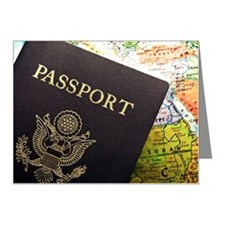 American Passport laid over  Note Cards (Pk of 20)