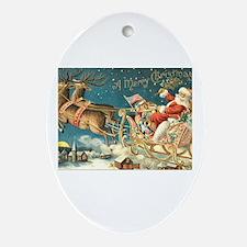Victorian Santa Sliegh Flying Oval Ornament