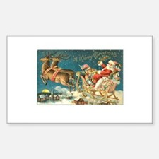 Victorian Santa Sliegh Flying Sticker (Rectangular