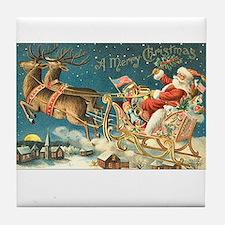 Victorian Santa Sliegh Flying Tile Coaster