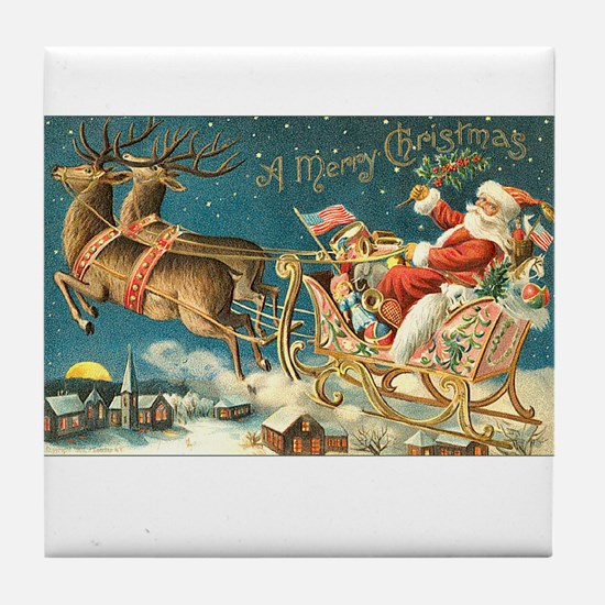 Victorian Santa Sliegh Flying Tile Coaster