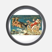 Victorian Santa Sliegh Flying Wall Clock