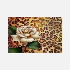 vintage rose cheetah print Magnets