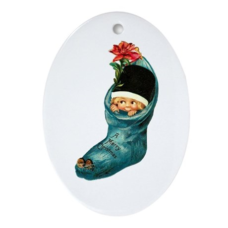 Vintage Christmas Stocking Cutie Oval Ornament