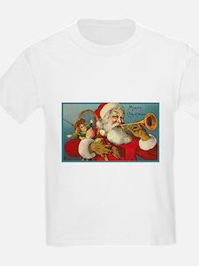 Merry Christmas Santa - Horn Playing Santa T-Shirt
