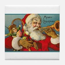Merry Christmas Santa - Horn Playing Santa Tile Co