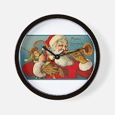 Merry Christmas Santa - Horn Playing Santa Wall Cl