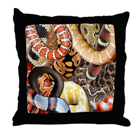 Snake Collage Throw Pillow