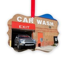 SUV exiting car wash Ornament
