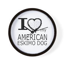 White Fur Heart Amer Eskimo Wall Clock