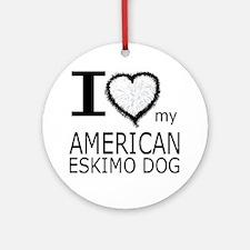 White Fur Heart Amer Eskimo Ornament (Round)