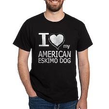 White Fur Heart Amer Eskimo T-Shirt