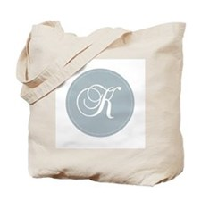 Grey Medallion Monogram K Tote Bag