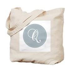 Grey Medallion Monogram Q Tote Bag