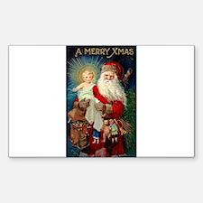 Santa holding Jesus Rectangle Decal