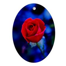 Stained Glass Rose Ornament (Oval)