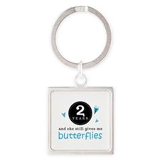 2 Year Anniversary Butterfly Square Keychain