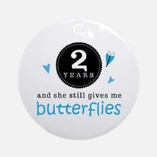 2 Year Anniversary Butterfly Ornament (Round)