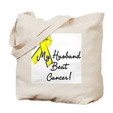 My Husband beat cancer Tote Bag