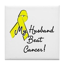 My Husband beat cancer Tile Coaster