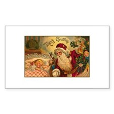 Victorian Santa Claus Scene Rectangle Decal