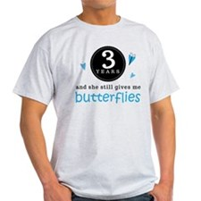 3 Year Anniversary Butterfly T-Shirt