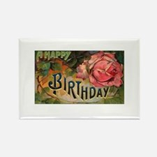 Victorian Birthday Rose Rectangle Magnet