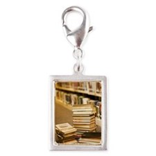 Stacks of books in library Silver Portrait Charm