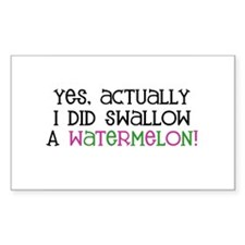 Swallowed a Watermelon... Rectangle Decal