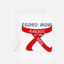 Proud Mom Karate Son Greeting Card