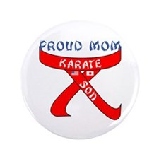 "Proud Mom Karate Son 3.5"" Button"