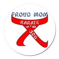 Proud Mom Karate Son Round Car Magnet