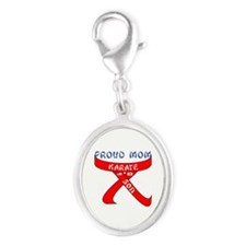 Proud Mom Karate Son Silver Oval Charm