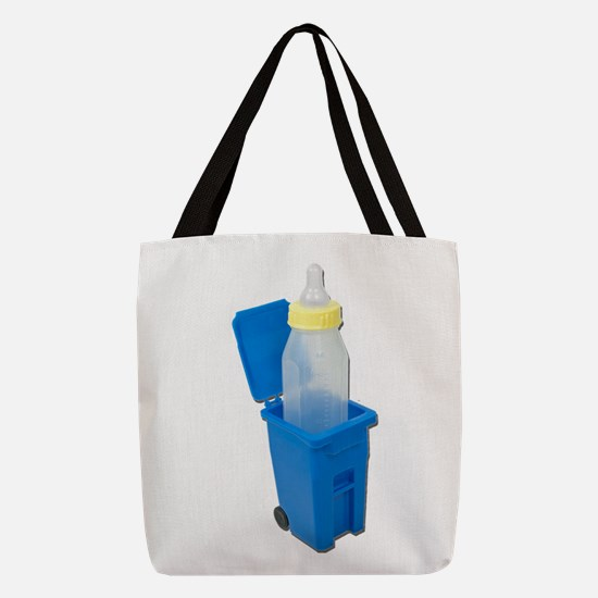 RecyclingBinWithBabyBottle12211 Polyester Tote Bag
