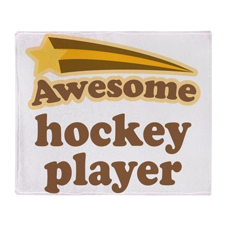 Awesome Hockey Player Throw Blanket