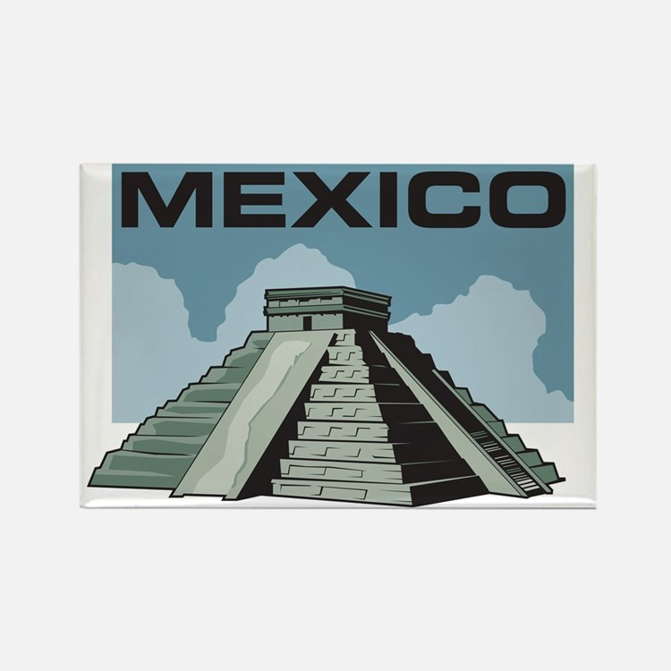 Mexico Pyramid Rectangle Magnet