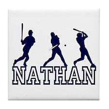 Baseball Nathan Personalized Tile Coaster