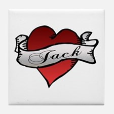 Jack Tattoo Heart Tile Coaster