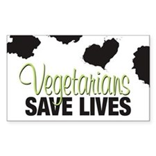 Vegetarians Save Lives Rectangle Decal